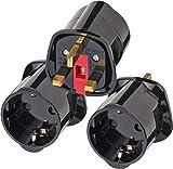 Brennenstuhl Reisestecker/Reiseadapter (Reise-Steckdosenadapter für: England Steckdose und Euro Stecker) Farbe: schwarz (3er Pack)