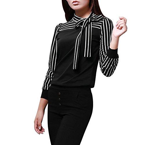 Damen Mode Lässig Shirt Mit Langen Ärmeln Gestreiften T-Shirt Tops Herbst Und Winter (3XL, Schwarz) (Marilyn Kleid Plus Size)