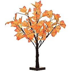 Mobestech 24 Köpfe Künstliche Herbst Ahornbaum Licht Batteriebetriebene Tischplatte Herbst Baum Lichter für Zuhause Thanksgiving Festival Dekoration ohne Batterie (Warmweiß)