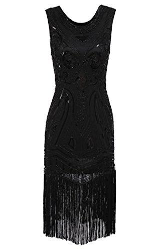 Gatsby Kleider 20er Jahre Ärmellose voller Pailletten/Spitzen Party Hochzeit Flapper Kostüm Kleid (Männer Flapper Kostüm)