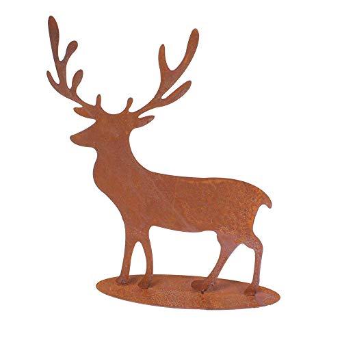 Floral-Direkt Hirsch Edelrost ca41×35cm Metall Figur Rost Geweih Elch REH Winter Tier Deko