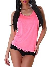 JELA London Damen Top Träger Shirt in vielen Trendfarben auch Neonfarben, Gr. 34-40