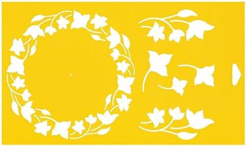 30cm x 17,5cm Flexibel Kunststoff Universal Schablone - Textil Kuchen Wand Airbrush Möbel Dekor Dekorative Muster Torte Design Technisches Zeichnen Zeichenschablone Wandschablone Kuchenschablone - Garland Kranz Circular Verzierung Blumen Blätter