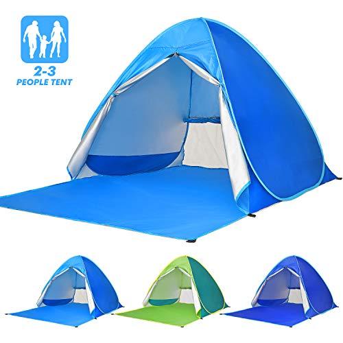 Elover Strandmuschel Pop Up Strandzelt UV Schutz Familie 50+ Sonnenschutz Anti UV Zelt für 2-3 Personen Tragbar Wurfzelt für Strand Camping Garten Angeln Picknick (hellblau)