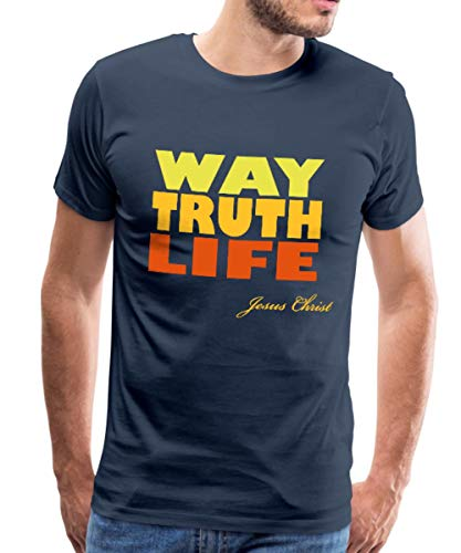 Spreadshirt Way Truth Life Jesus Christ Männer Premium T-Shirt, S, Navy