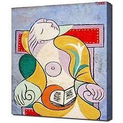 Pablo Picasso - La Lecture - Art Leinwandbild - Kunstdrucke - Gemälde Wandbilder