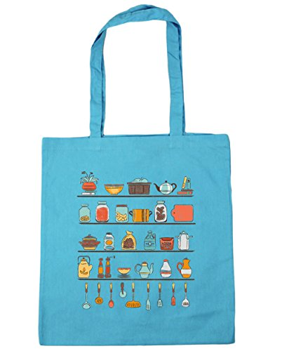 Cafe Blue Fruit Bowl (Hippowarehouse ,  Damen Strandtasche, blau, 50006-DTG-TOTE-Surf Blue)
