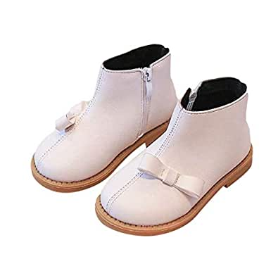 Hopscotch Girls PU Ankle Length Boots with Flat Bow - Ivory