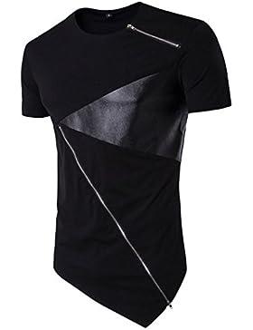 Camiseta de manga corta Hombre Verano Blusa de corte irregular de algodón camisetas camisas Tops Amlaiworld (Negro...