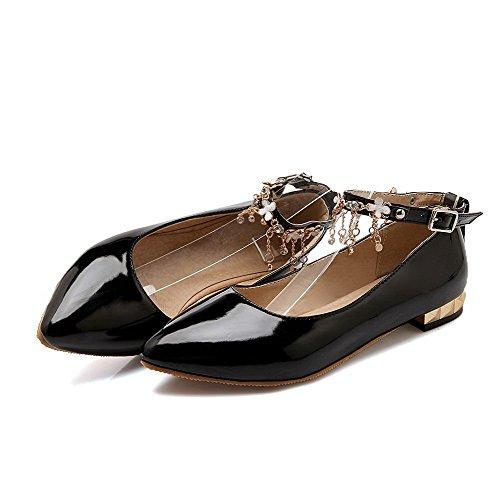 AllhqFashion Femme Pointu Boucle Pu Cuir Mosaïque à Talon Bas Chaussures Légeres Noir