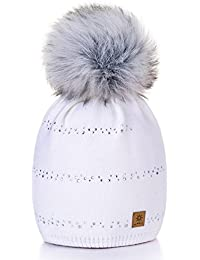 Damen Wurm Winter Style Beanie Strickmütze Mütze mit Fellbommel Bommelmütze Hat Ski Snowboard Pelz Bommel Pompon Small Crystals 4sold