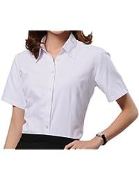 16a528cb6360 Dioufond Modisch Damen Shirt Kurzarm Revers Schlank Hemd Arbeit V-Ausschnitt  mit Knöpfe Stehkragen Casual Oberteil Business Bluse…