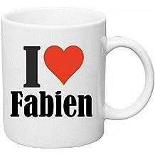 """Tasse de Café .. Tasse à Thé … Coffee Mug """" """"I Love Fabien"""" ... Hauteur 9 cm de Diamètre 8 cm Volume 330 ml ... Le cadeau idéal pour leur Partenaire - Collègue - Amis"""