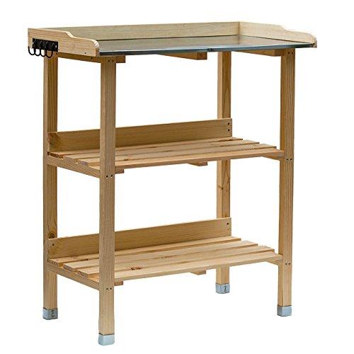 RM Design Holz Pflanztisch 76x38x91 cm für Garten Terasse Balkon mit Zinkplatte Gartentisch 2...