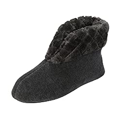 Dearfoams Velour Bootie Slipper with Quilted Pile Cuff Grey Large UK/India 7-8
