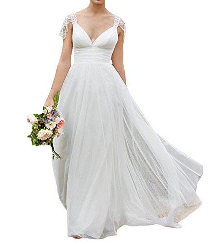 Ysmo Tüll Kappen Hülsen V-Ausschnitt Brautkleider Backless Frauen Einfache Brautkleider Weiß