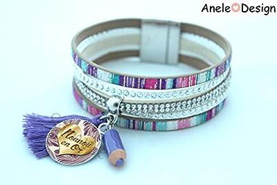 Bracelet nounou, cadeau nounou Noël, crayon violet, Nounou en or, manchette violet argenté, plumes, cœur doré, pompon violet, cadeau nounou