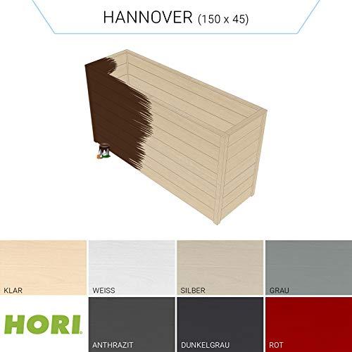 HORI® Hochbeet für den Garten I Gartenbeet, Blumenkasten aus Holz I Modell Hannover (45x150) I Braun