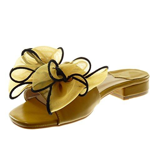 Angkorly Chaussure Mode Sandale Mule Slip-On Femme Noeud Tulle Talon Haut Bloc 4 CM Jaune