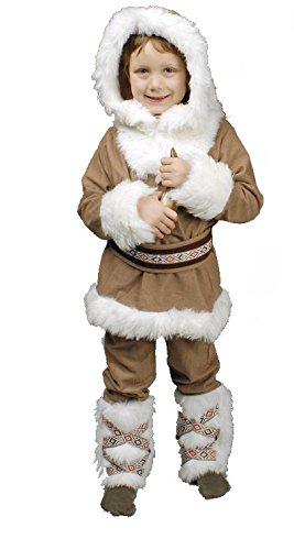 Eskimo Kostüm beige-weiß für Jungen | Größe 140-152 | 3-teiliges Winter Kostüm | Inuit Faschingskostüm für Kinder | Inuk Kostüm für Karneval