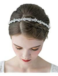 66106473e98c7 SWEETV Crystal Wedding Headband Silver-Bridal Headpiece Jewelry Band  Rhinestone Hairpiece Women Hair Accessories for
