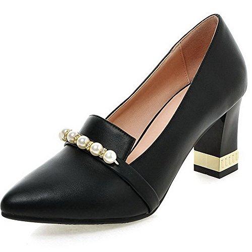 AllhqFashion Femme Pu Cuir à Talon Haut Pointu Mosaïque Tire Chaussures Légeres Noir