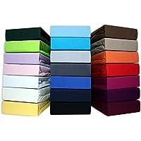 leevitex Farbenfrohes Spannbettlaken für WASSERBETTEN & BOXSPRINGBETT Spannbetttuch Jersey 200 x 220cm, 40cm Steghöhe 100% Baumwolle ca. 160 g/m² (Grau)