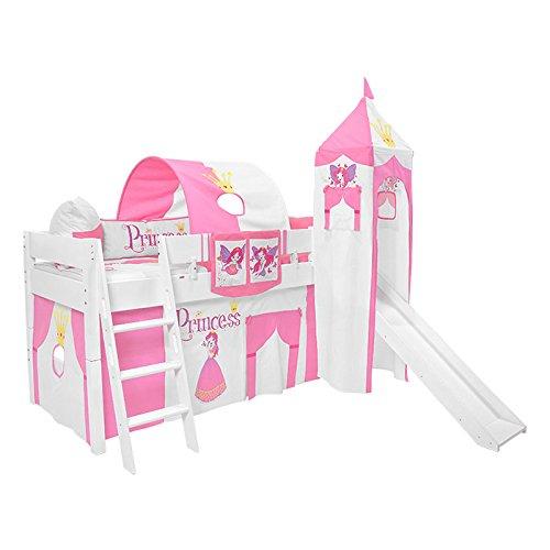 Kinderhochbett Spielbett Hochbett Luk mit Rutsche und Turm inkl. Rollrost Buche massiv weiß lackiert 90 x 200 cm (Jungen Hochbett Mit Rutsche)