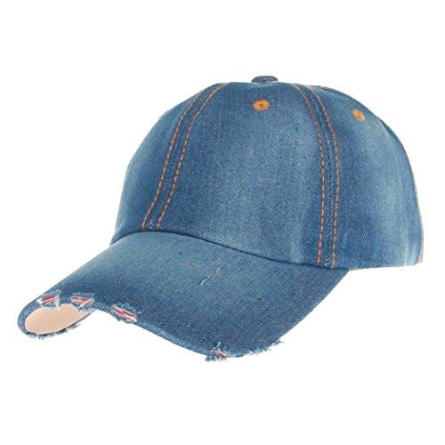 Bovake Art- und Weisemänner Jean-Sport-Hut-beiläufiger Denim-Baseballmütze-Sonnehut (Color B) (Logo Basic Hut Einstellbare)