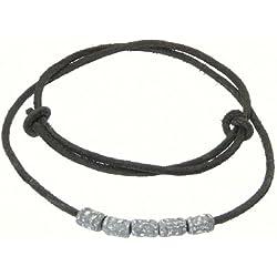 Surfer cordón negro de cuero / gargantilla collar de cuero / cuero con cuentas de metal - 01
