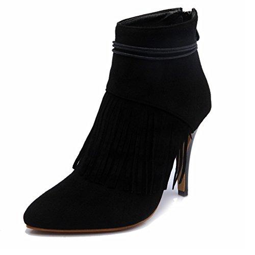 TAOFFEN Damen Mode-Event Fransen Schuhen mit hohen Absätzen Quasten Mit Reißverschluss Martin Stiefel Schwarz