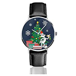 Unisex Business Casual B-ugs Bu-NNY Around The Christmas Tree Watches Quarzuhr Lederarmband schwarz für Herren Damen Young Collection Geschenk