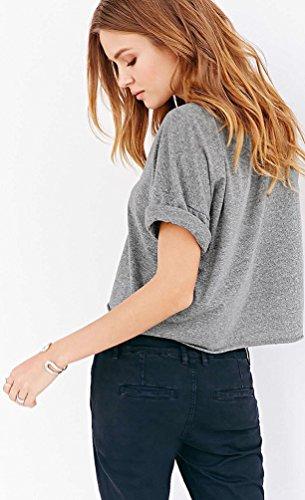Baymate Frauen Bauchfreies Top Feste Farbe Einfachheit Crop Top Kurzes T-shirt Grau
