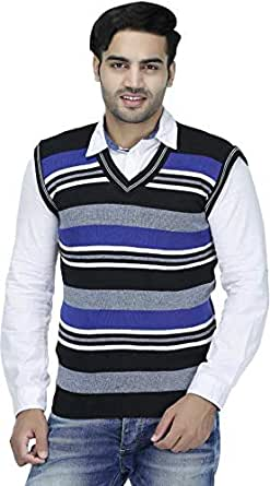"""ZAKOD Sleeveless Slim Fit Multicolor Sweater for Men,Purely Wool Sweater,Formal Use Sweater, M=38"""",L=40"""",XL=42"""" (Blue, Small)"""