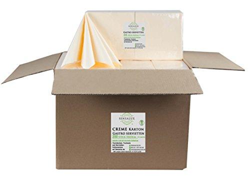 Sensalux Gastro-Servietten Karton, 8 x 200 Stück, Creme, 3-lagig 1/4-Falz 33 cm x 33 cm, 1600 STK Servietten, hochwertige Servietten, ideal für Partys, Hochzeiten, Geburtstage