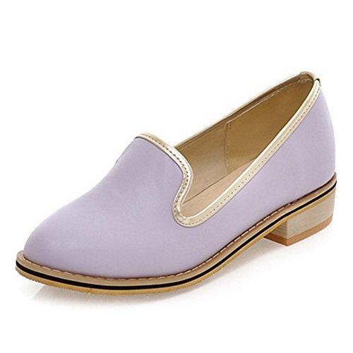 COOLCEPT Femmes Mode Slip On Escarpins Bloc Talon bas Chaussures Violet