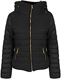 Womens Ladies Quilted Padded Coat Bubble Puffer Jacket Fur Collar Hooded Thick [Black, UK L]