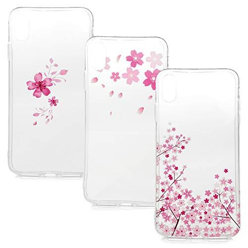 S Max, 3X Gemalt Handyhülle Case, Silikon Schale Schutzhülle Handytasche Crystal Clear Durchsichtig Cover in Enthält Blumen + Kleine rosa Blüten + Blütenblätter ()