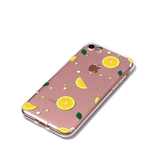 iPhone 7 Plus Custodia, Cartoon foglie di palma - TPU Silicone Trasparente Nuovo Gel Soft Case iPhone 7 Plus Custodia 5.5 durevole Cartoon Cover, Prova di scossa anti-graffio # # 4