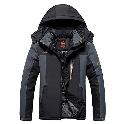 Xiaodun77 Herren Winter Warm Ski Eislauf-Jacke wasserdichte Fleecejacke im Freien wandernden Reise Jacke Armee Berg Kleidung,Schwarz,6XL