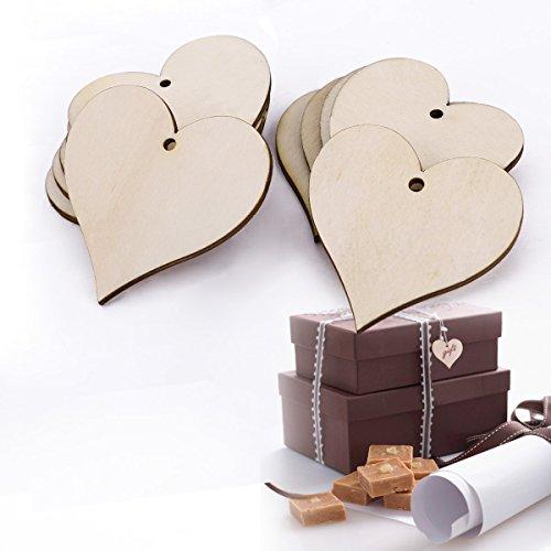 25tlg Herz Form Holz Anhänger Geschenkanhänger Namenskarte Basteln Hochzeit Party Deko Selbstgestalten