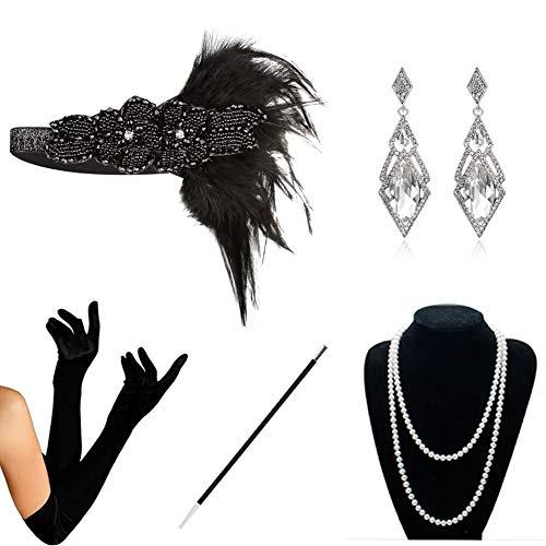 (KQueenStar 1920er Jahre Zubehör Set Flapper Kostüm Accessoires für Damen 20s Gatsby Jahre Stirnband Kopfschmuck Perlen Halskette Handschuhe Zigarettenspitze (Black6), Black D, )