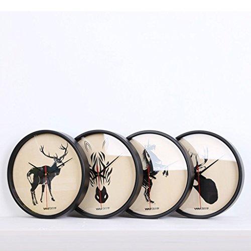 Einfach Zebra (LongYu Stille Nordische wanduhr Wohnzimmer Mode Zebra Deer wanduhr Einfache europäischen Stil Holz (Color : Unicorn))