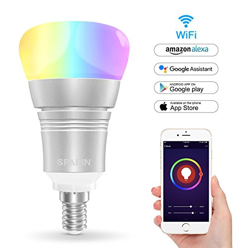 [Energy saving] Smart Bulb, SPARIN Color Changing Led Light Bulb [ E14 Small Edison Screw Candle Bulbs]. Mood Light Bulbs that Compatible with Alexa/Google Home [Dimmable] [Remote Control] [No HUB].