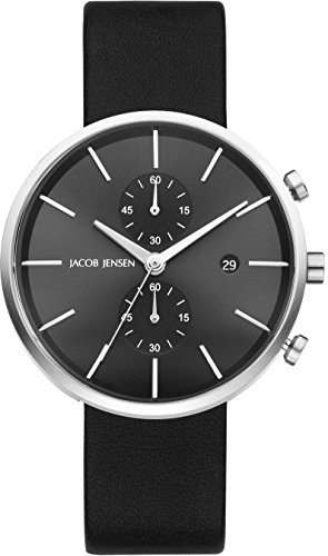 Jacob Jensen Herren Chronograph Quarz Uhr mit Leder Armband 620