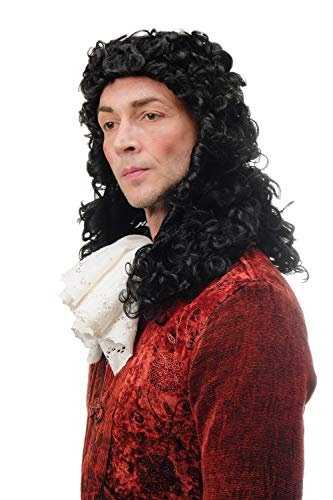 (Wig me up - 91030-ZA103 Perücke Herren Karneval Fasching historisch Renaissance Barock Edelmann Adel König Prinz Locken Schwarz 45 cm)