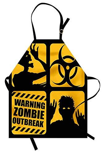 Printawe Zombie Apron von, giftiges Zeichen mit Ausbruchswarnung und Monster-Silhouetten Bicolor Illustration, Unisex-Küchenschürze mit verstellbarem Hals zum Kochen Backen Gartenarbeit, Gelb und ()