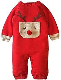 Carolilly Neugeborenen Baby M/ädchen Langarm Strick Body Knitted Romper Winter Kleidung Warme Prinzessin Strampler