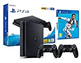 PS4 Slim 500Gb schwarz Playstation 4 - FIFA 19 + 2 Dualshock Controller 4