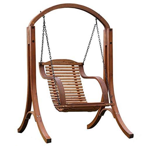 XLOO Outdoor Swing Canopy Hängesitze, Holzschaukel, natürliche Kiefer, Edelstahlkette, Glider Outdoor Chair Top Tilt UV-beständiger Schirm -